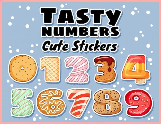 Set di adesivi simboli numeri gustosi Vettore Premium