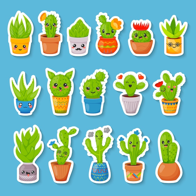 Set di adesivi simpatici cactus e piante grasse del fumetto Vettore Premium