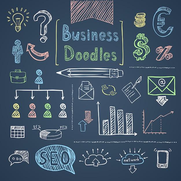 Set di affari di doodle Vettore gratuito