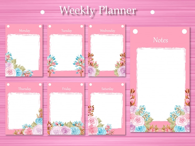 Set di agenda settimanale con splendidi fiori viola e blu Vettore Premium