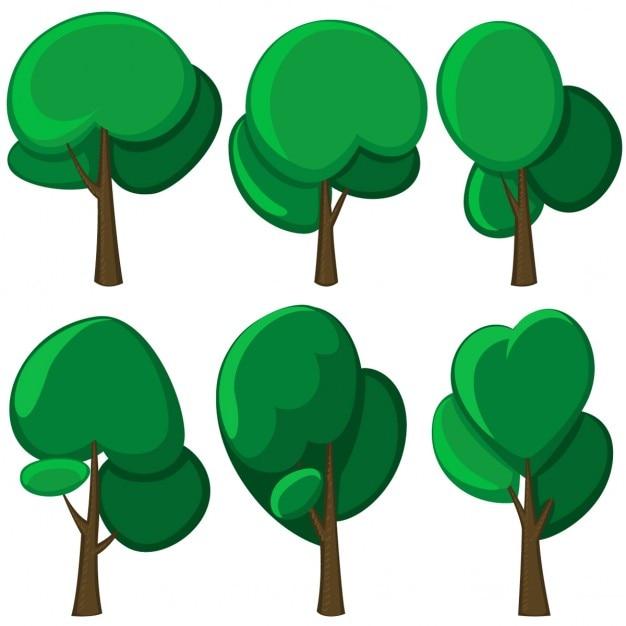 Set di alberi dei cartoni animati vettore scaricare