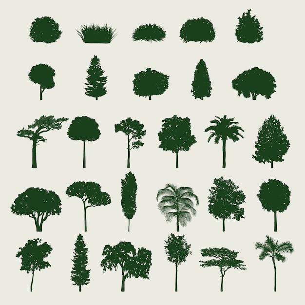 Set di alberi Vettore gratuito