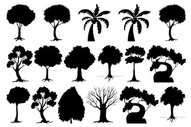 Set di albero silhouette Vettore gratuito