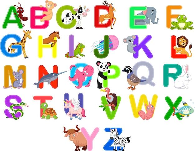 Set di alfabeto di animali Vettore Premium
