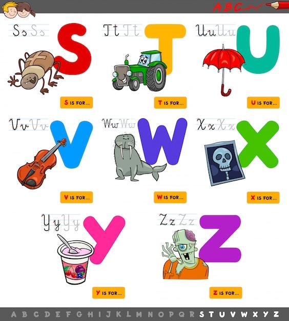 Set di alfabeto educativo dalla s alla z. Vettore Premium