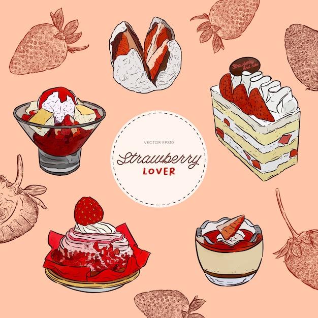 Set di amante di fragole, dessert. torta, budino, ghiaccio da barba, ecc. disegnare a mano schizzo vettoriale. Vettore Premium