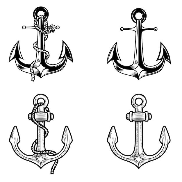 Set di ancore su sfondo bianco. elementi per logo, etichetta, emblema, segno. immagine Vettore Premium