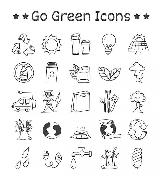 Set di andare icone verdi in stile doodle Vettore Premium