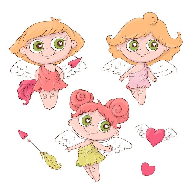 Set di angeli simpatico cartone animato per san valentino Vettore Premium