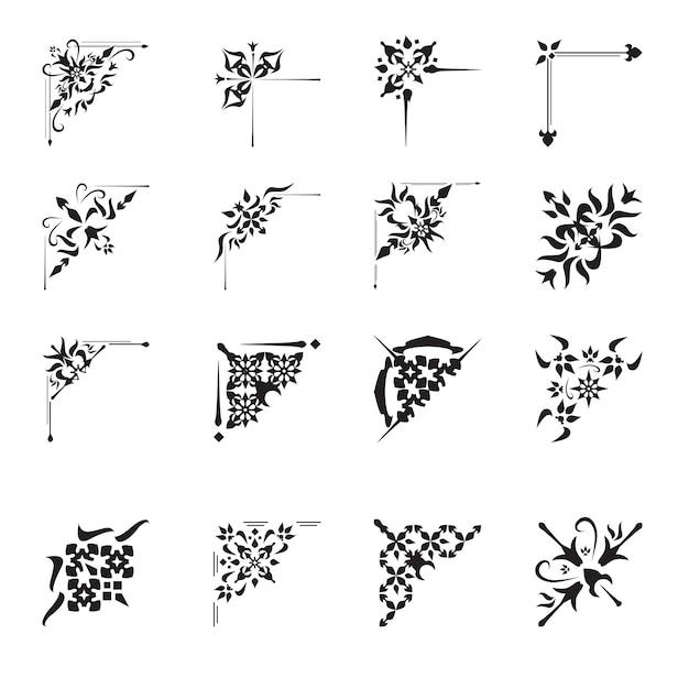 Set di angoli di design ornamentale Vettore gratuito