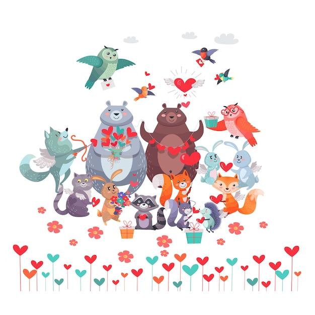 Set di animali con cuori. concetto di giorno di san valentino Vettore Premium