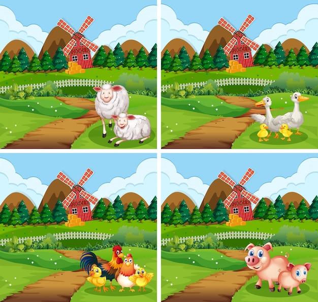 Set di animali da fattoria in natura Vettore gratuito