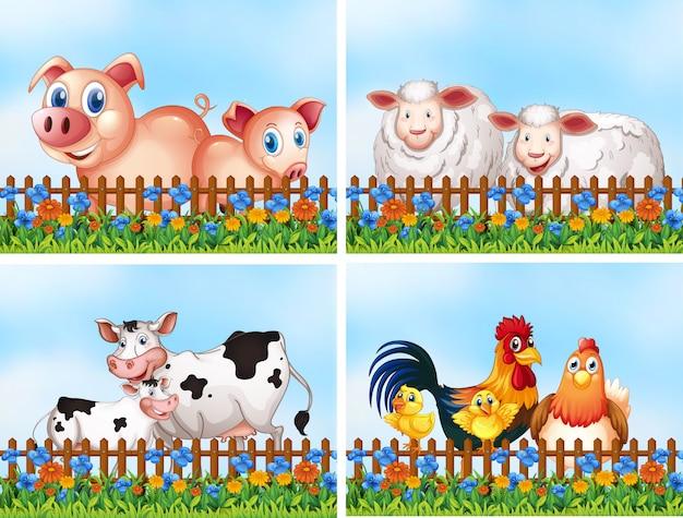 Set di animali da fattoria Vettore gratuito