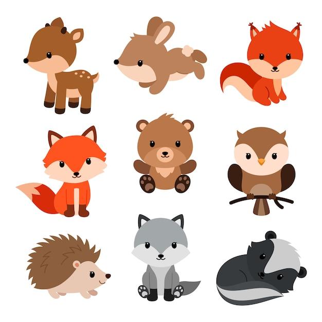 Set di animali del bosco. Vettore Premium