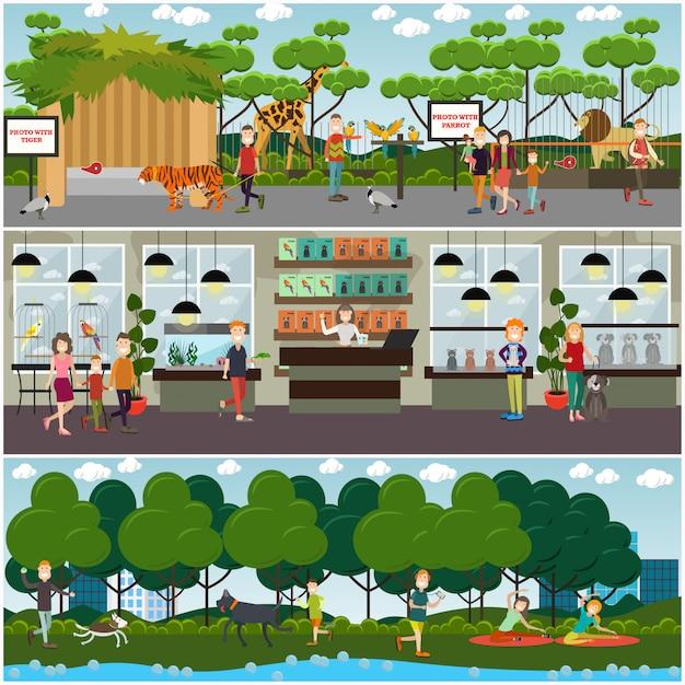 Set di animali domestici e poster piatti animali dello zoo, banner Vettore Premium