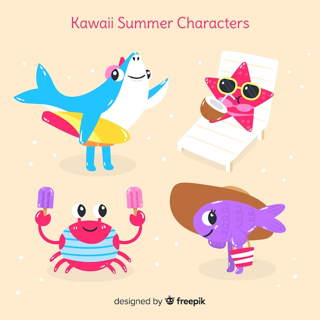 Set di animali estivi kawaii Vettore gratuito