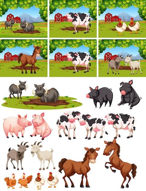 Set di animali in fattoria Vettore Premium
