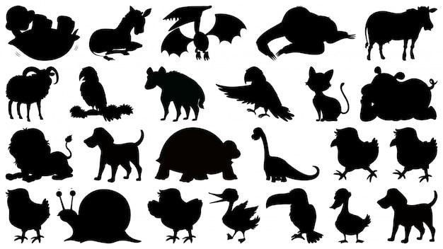 Set di animali silhouette Vettore Premium