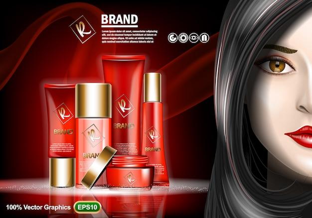 Set di annunci crema per la cura della pelle Vettore Premium