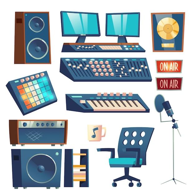 Set di apparecchi di registrazione audio studio Vettore gratuito