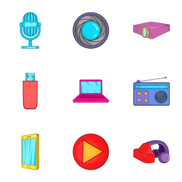 Set di apparecchiature elettroniche, stile cartoon Vettore Premium
