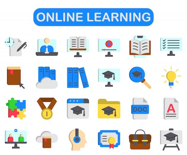 Set di apprendimento online, stile piatto premium Vettore Premium