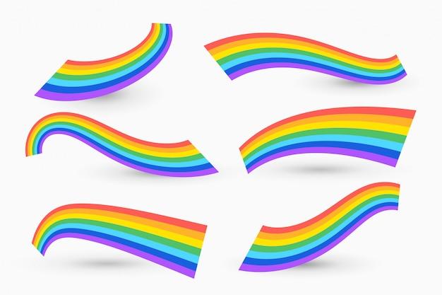 Set di arcobaleno ondulato Vettore gratuito