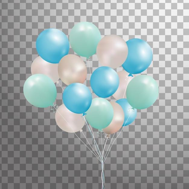 Set di argento, blu, palloncino di elio verde isolato nell'aria. palloncini festa glassati per la progettazione di eventi. decorazioni per feste di compleanno, anniversario, celebrazione. Vettore Premium