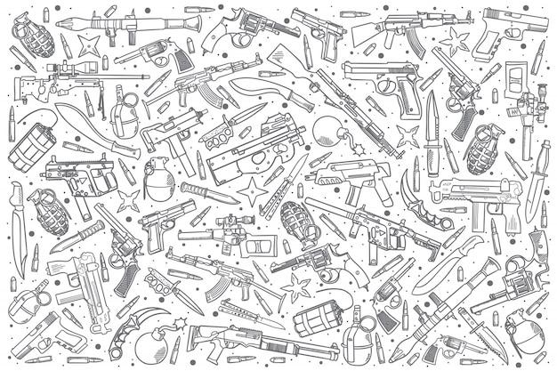 Set di armi disegnate a mano Vettore Premium