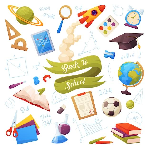 Set di articoli per la scuola. gli oggetti e le forniture di cartoni animati includono: libri, globo, tablet, lente d'ingrandimento, palla, allarme, righello, vernice, boccette, matita, berretto, lista dei voti, razzo Vettore Premium