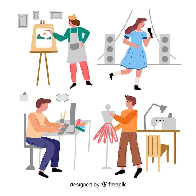 Set di artisti al lavoro Vettore gratuito