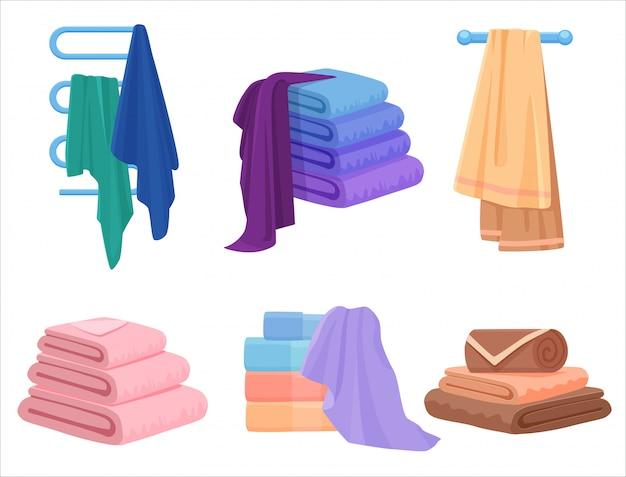 Set di asciugamani vettoriali. asciugamano di stoffa per il bagno Vettore Premium