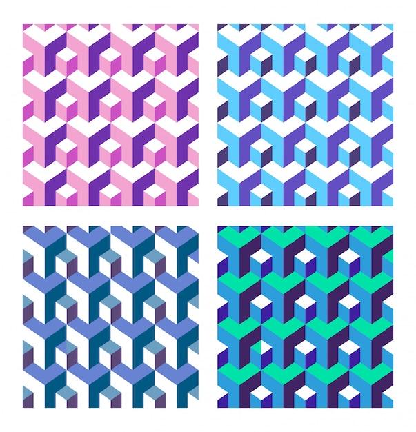 Set di astratto isometrica Vettore Premium