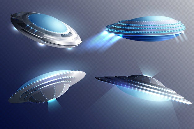 Set di astronavi aliene Vettore gratuito