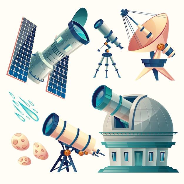 Set di astronomia di cartone animato. telescopi astronomici - radio, orbitale. Vettore gratuito