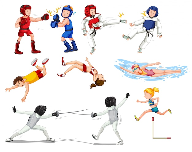 Set di atleti sportivi Vettore gratuito