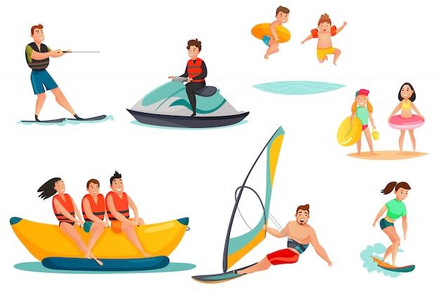 Set di attività acquatiche estive Vettore gratuito