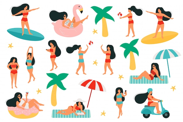 Set di attività donne sulla spiaggia. donne sull'anello di nuoto, la forma di un fenicottero e una ciambella. gioca con un pallone da spiaggia. cavalca su uno scooter. fare surf Vettore Premium
