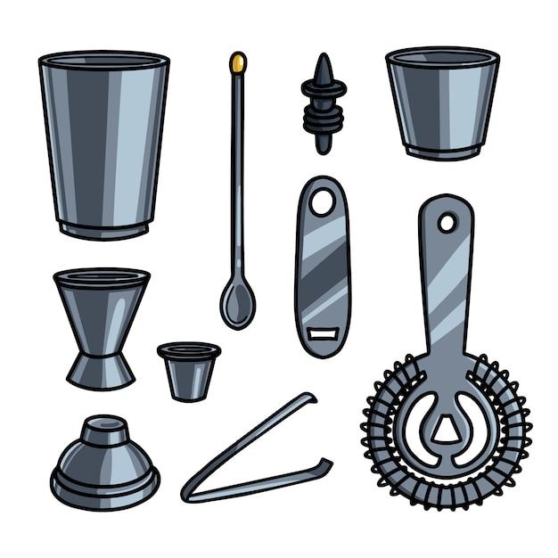 Set di attrezzatura da barista in acciaio metallico o strumenti di aiuto Vettore Premium