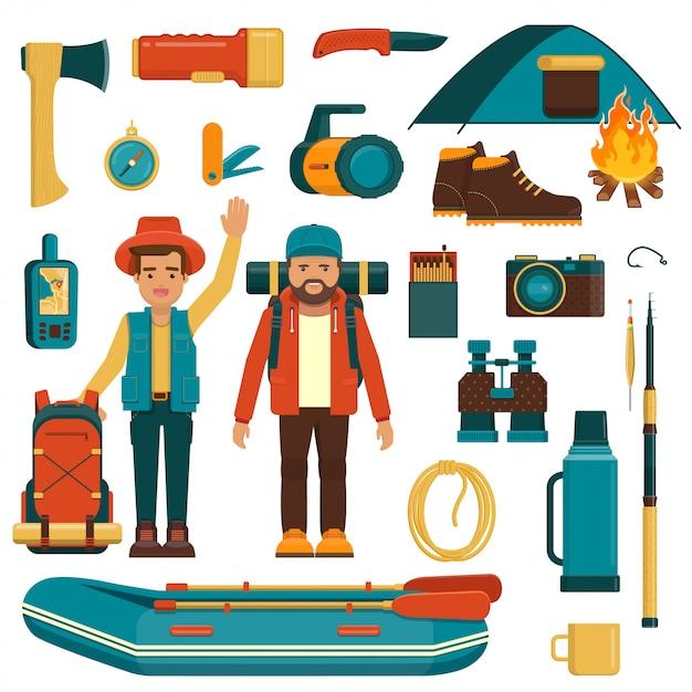 Set di attrezzatura da campeggio, pesca ed escursionismo Vettore Premium