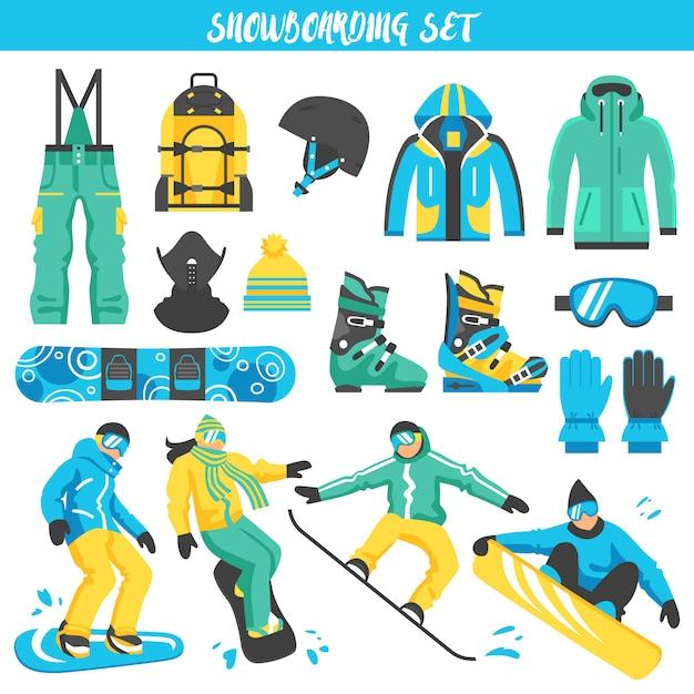 Set di attrezzatura da snowboard colorata Vettore gratuito