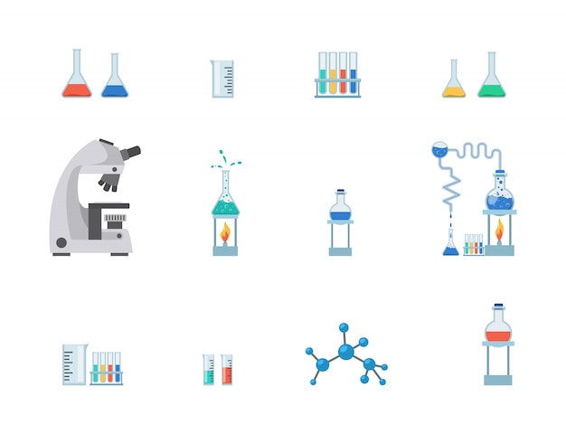 Set di attrezzature da laboratorio Vettore Premium