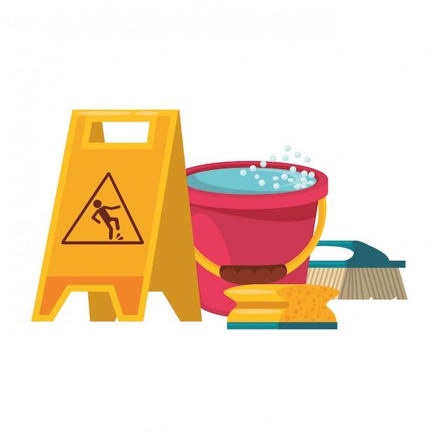 Set di attrezzature e prodotti per la pulizia Vettore Premium