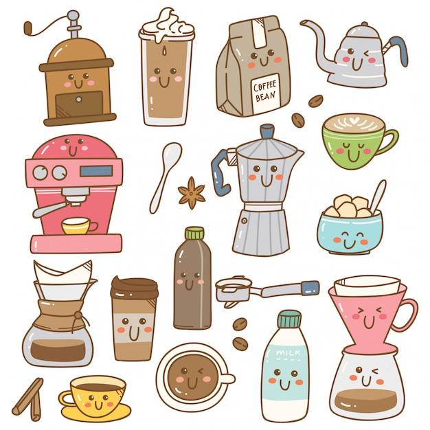 Set di attrezzature per il caffè in stile doodle kawaii Vettore Premium