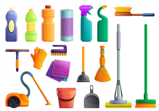 Set di attrezzature più pulite, in stile cartone animato Vettore Premium