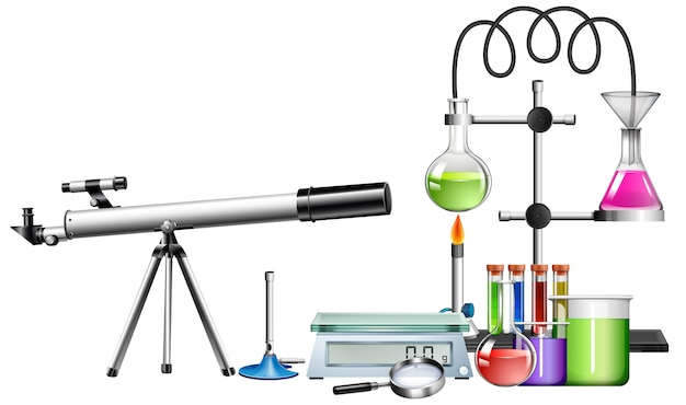 Set di attrezzature scientifiche Vettore gratuito
