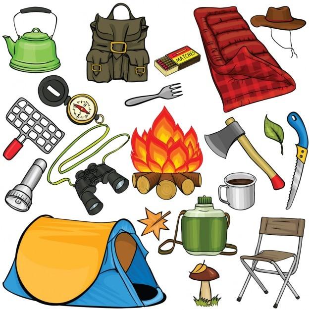 Set di attrezzi da campeggio in stile cartone animato