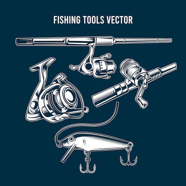 Set di attrezzi da pesca blu Vettore Premium