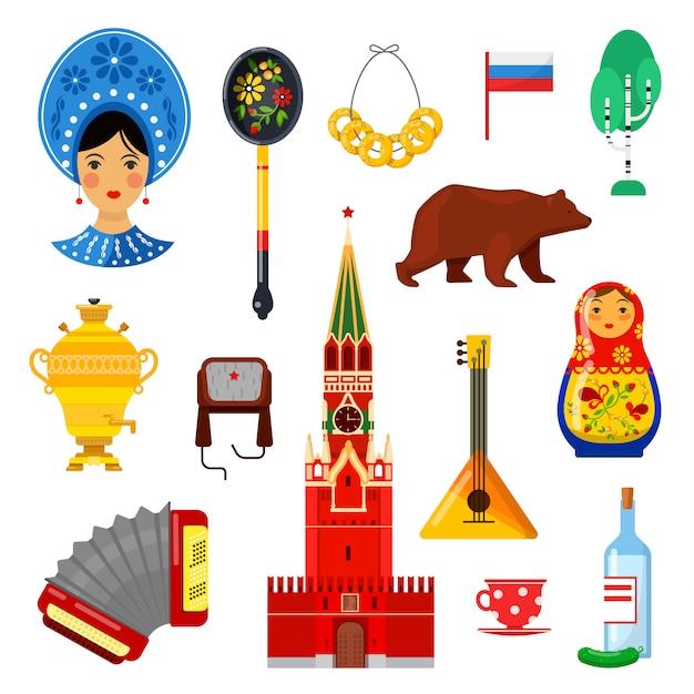 Set di attributi russi tradizionali su bianco Vettore Premium