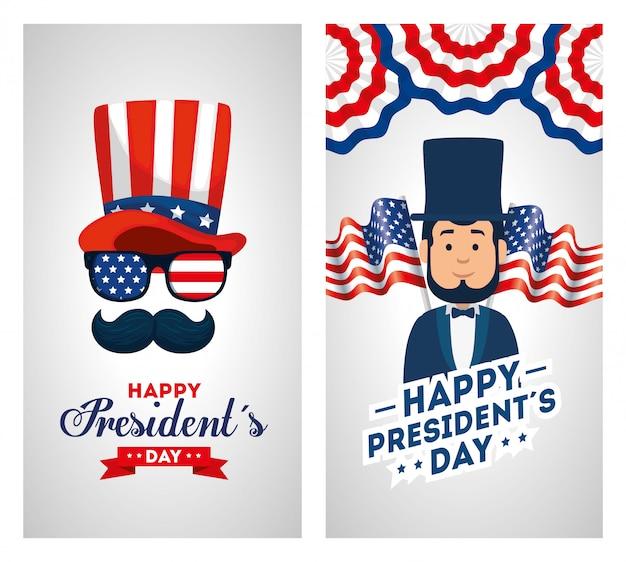 Set di auguri felice giorno di presidenti Vettore Premium